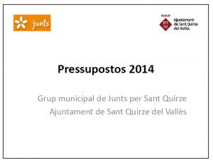 Caràtula pressupost 2014